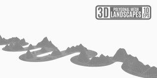 Serpente poligonal cinzenta das montanhas no fundo branco Fotos de Stock
