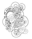 Serpenteie com flor e vetor japonês do projeto da tatuagem da nuvem imagem de stock