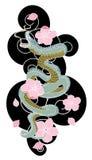 Serpentez avec la fleur et le vecteur japonais de conception de tatouage de nuage Photo stock