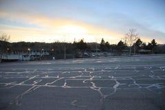 Serpenti del catrame nell'ambito del tramonto Immagine Stock