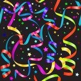 Serpentina de ondulação do inclinação brilhante e teste padrão sem emenda dos confetes Fotografia de Stock Royalty Free