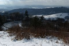 Serpentinas en montaña Fotografía de archivo libre de regalías