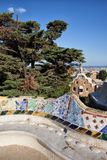 Serpentine Bench in Park Gueli in Barcelona. Serpentine Bench with Trencadis mosaic at Antoni Gaudi's Park Guell in Barcelona, Catalonia, Spain Royalty Free Stock Images