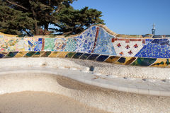 Serpentine Bench in Park Gueli in Barcelona. Serpentine Bench with Trencadis mosaic at Antoni Gaudi's Park Guell in Barcelona, Catalonia, Spain Royalty Free Stock Photos