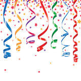 Serpentine and confetti background. Red, green, yellow, blue shiny curling ribbons or party serpentine with stellar confetti Royalty Free Stock Images