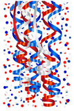 Serpentine and confetti in white, blue and red royalty free illustration
