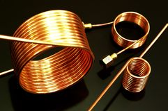 Copper tube coils. Serpentine copper tube coils for industries stock photos
