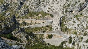 Serpentine curves in the Tramuntana mountains in Mallorca Stock Image