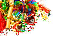 Serpentine, garlands, confetti. Carnival party decoration Stock Image