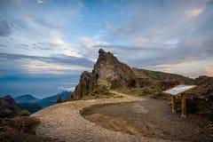 Serpentine hiking path to Pico Arieiro, Madeira island. Stock Photos