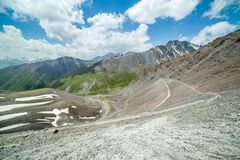 Serpentine hiking trail, Kyrgyzstan Stock Images