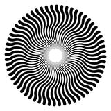 Serpentine lines forming a circular pattern. And a three-dimensional effect. The pattern creates an optical illusion as if it is moving. Black and white Stock Images