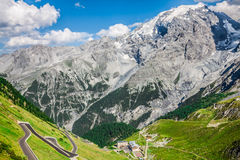 Serpentine mountain road in Italian Alps, Stelvio pass, Passo de Royalty Free Stock Photo