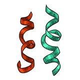 Serpentine Ribbons Ejemplo del grabado del color del vintage del vector libre illustration