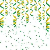 Serpentine ribbons, isolated on background. Streamers confetti . Vector Illustration of green decoration. Falling light decoration Stock Images