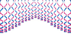 Serpentine ribbons, isolated on background. Streamers confetti . Vector Illustration of violet decoration. Falling light decoratio. N for party, birthday Stock Images