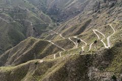 Serpentine road at Castelmola - Sicily, Italy Royalty Free Stock Images