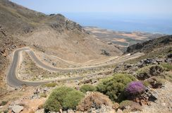 Serpentine road, Crete Royalty Free Stock Images