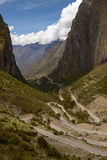Serpentine Road for Crossing Andes Mountains between Peru and Bolivia Royalty Free Stock Photos