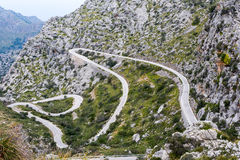 Serpentine road direction sa calobra, majorca Royalty Free Stock Images