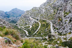 Serpentine road direction sa calobra, majorca Royalty Free Stock Photo