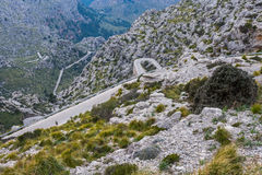 Serpentine road direction sa calobra, majorca Stock Photos