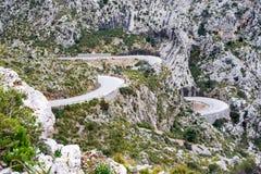 Serpentine road direction sa calobra, majorca Royalty Free Stock Images