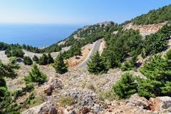 Serpentine road in mountains of Crete island, Greece Royalty Free Stock Photography