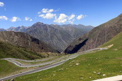 Serpentine road in the mountains. Of Kyrgyzstan Stock Photography