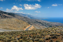 Serpentine road to Aradena gorge near Sfakia town on Crete island, Greece Stock Images