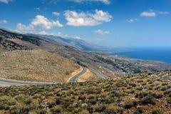Serpentine road to Aradena gorge near Sfakia town on Crete island, Greece.  Stock Images