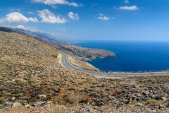 Serpentine road to Aradena gorge near Sfakia town on Crete island, Greece Stock Photos