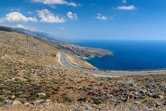Serpentine road to Aradena gorge near Sfakia town on Crete island, Greece.  Stock Photos
