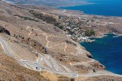 Serpentine road to Aradena gorge near Sfakia town on Crete island, Greece.  Stock Photo