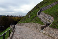 Serpentine road to the mountain of Gediminas in Vilnius. Royalty Free Stock Photos