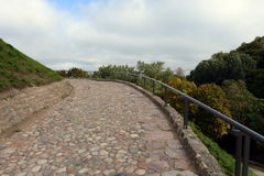 Serpentine road to the mountain of Gediminas in Vilnius. Royalty Free Stock Photo