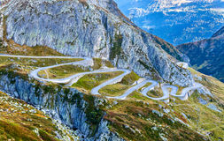 Serpentine road to the St. Gotthard Pass in the Swiss Alps Stock Photo