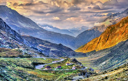 Serpentine road to the St. Gotthard Pass in the Swiss Alps Stock Photos