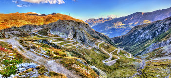 Serpentine road to the St. Gotthard Pass in the Swiss Alps Royalty Free Stock Photos