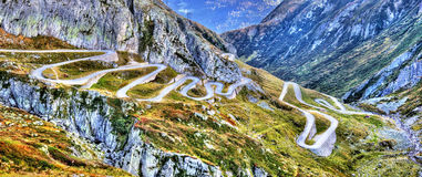 Serpentine road to the St. Gotthard Pass in the Swiss Alps Royalty Free Stock Photography