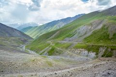 Serpentine road. View from Kegety pass Royalty Free Stock Photo