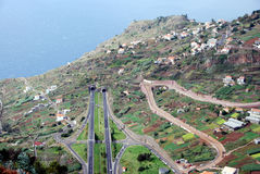 Serpentine, roads and tunnels on Madeira Island Stock Photos