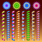 Serpentine. Set of colorful flat streamers  on dark background Royalty Free Stock Photo
