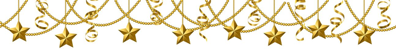 Serpentine streamers border. Golden serpentine streamers and stars border isolated on white background Stock Photo