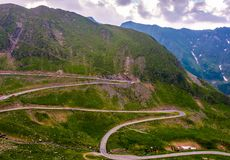 Serpentine of Transfagarasan road in mountains. Lovely transportation background Stock Photography