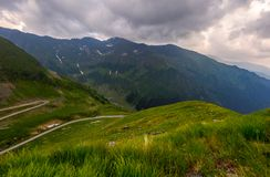 Serpentine of Transfagarasan road in mountains. Lovely transportation background royalty free stock photography