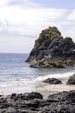 Serpentinenfelsenklippen an den Gezeiten umranden an Kyance-Bucht in Cornwall Stockbild