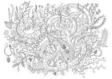 Serpents camouflés dans la végétation et les arbustes Schéma pour remplissent activité de détente dedans de coloration image libre de droits