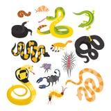 Serpents plats de vecteur et d'autres animaux de danger illustration libre de droits