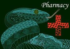 Serpiente azul con una cruz en estilo del zenart, farmacia, modelo del color, stock de ilustración